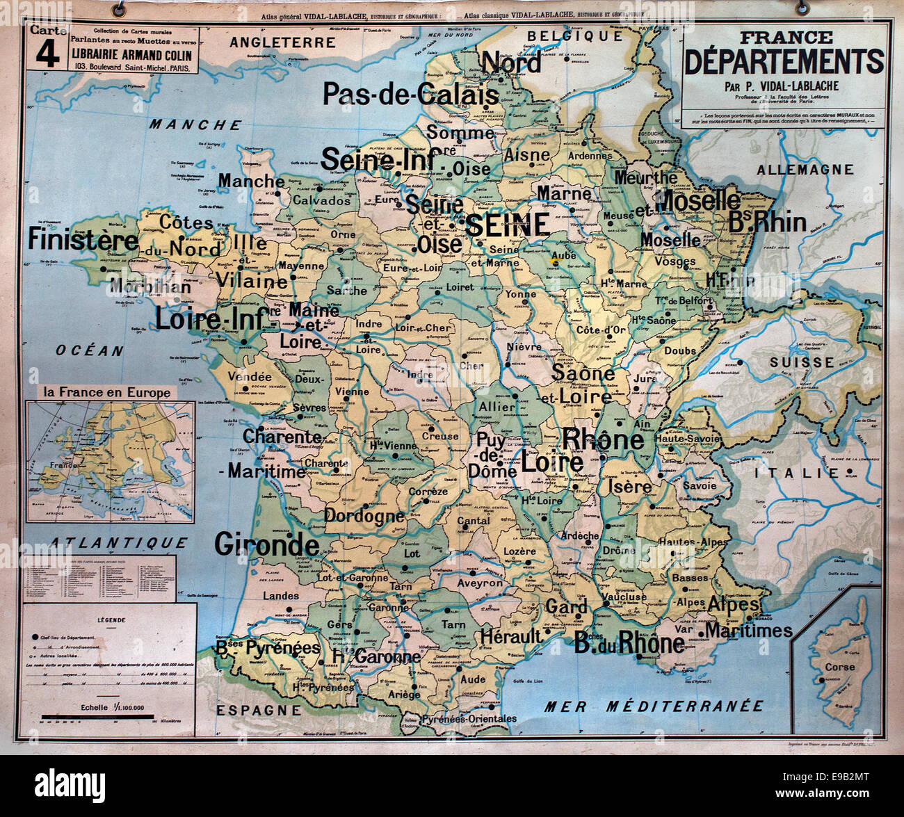 Old school wall map France French cartography - Stock Image