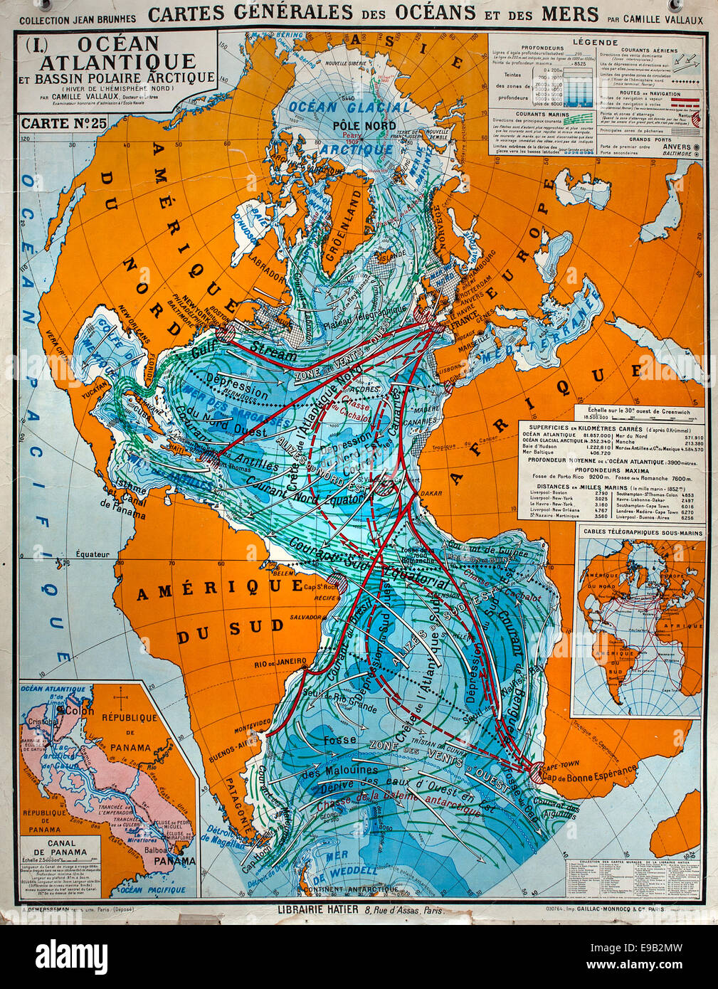 Old school world wall map  French cartography - Stock Image
