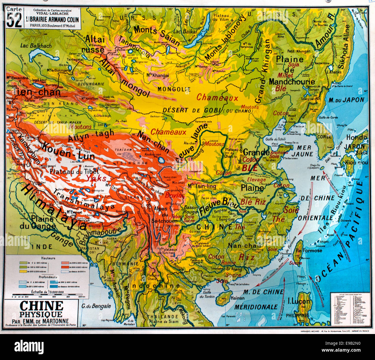 Old map china stock photos old map china stock images alamy old school world wall map china himalaya french cartography stock image gumiabroncs Gallery