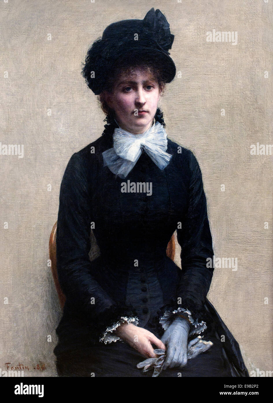 Portrait Louise Riesner 1886 Henri Fantin Latour 1836-1904 France French Stock Photo