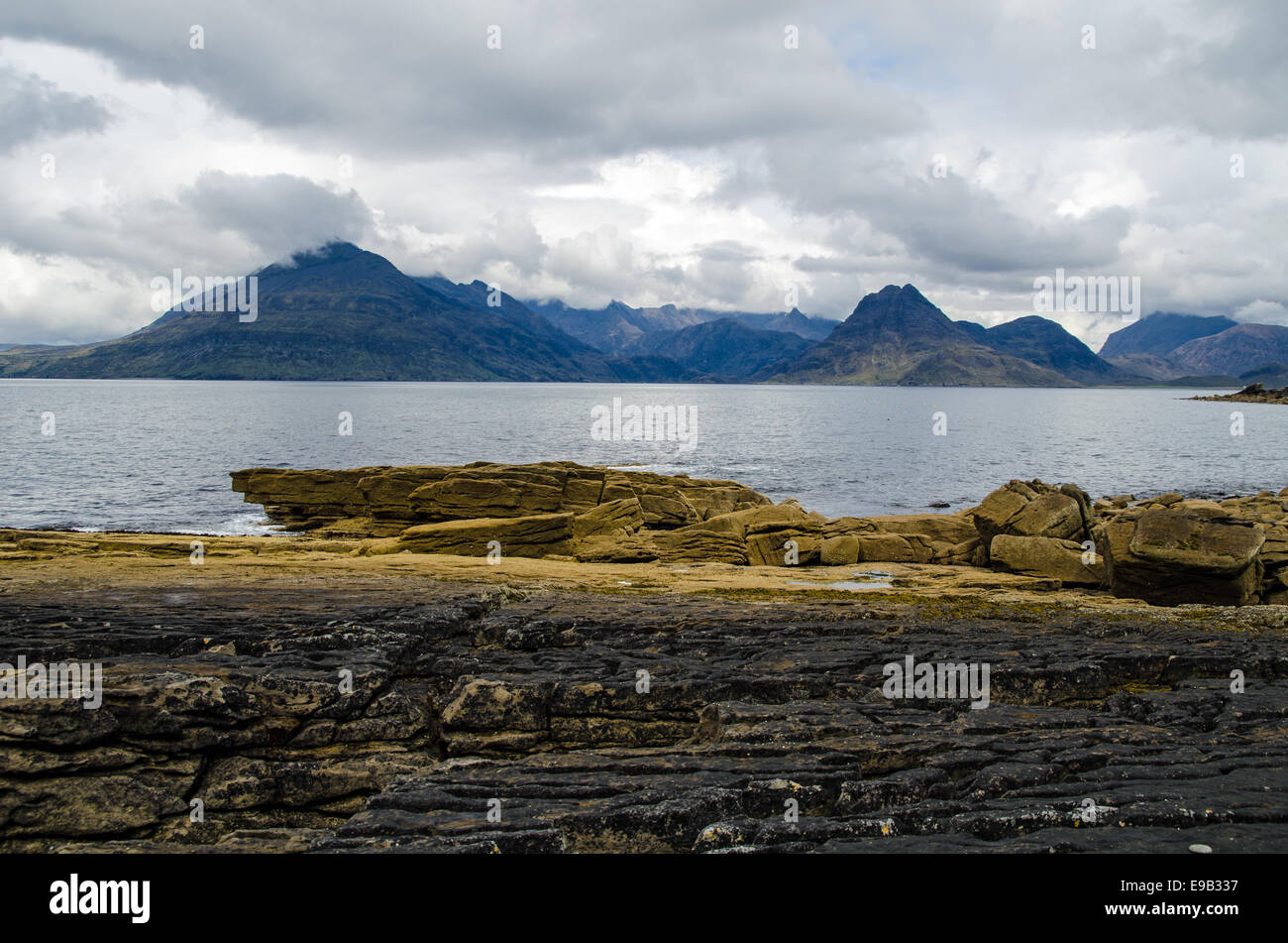 Black Cuillin Mountains, Isle of Skye from Elgol - Stock Image