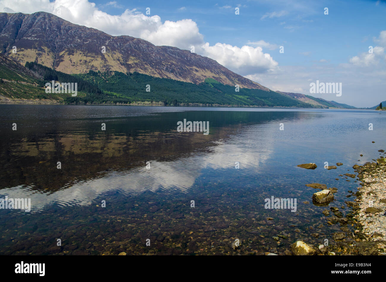 Reflections on a Scottish Loch, Loch Lochy, West Highlands - Stock Image