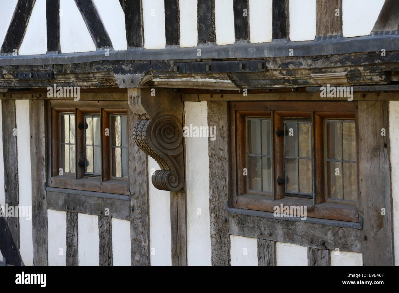 Ornate wood carving on timber framed house, Bell Lane, Ludlow, Shropshire, England, United Kingdom, UK, Europe - Stock Image
