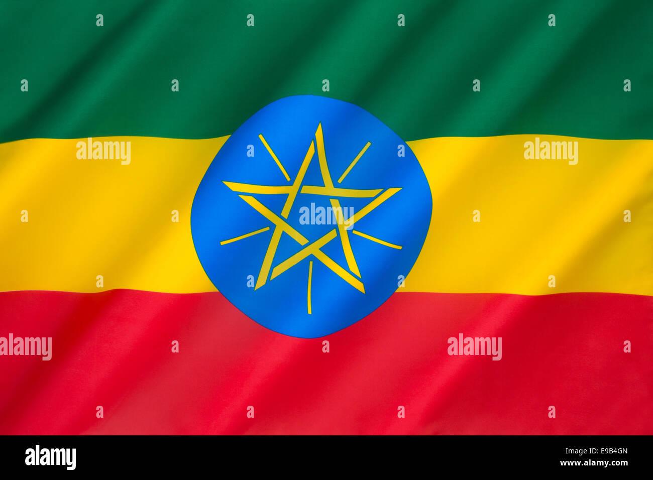Flag of the Federal Democratic Republic of Ethiopia - Stock Image