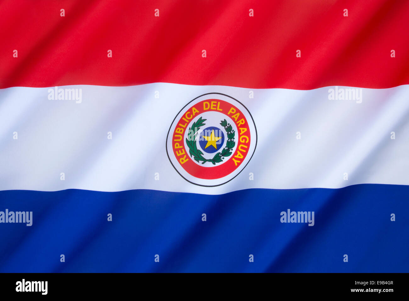 National flag of Paraguay - Stock Image