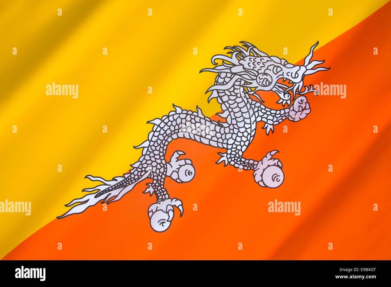 The national flag of Bhutan - Stock Image