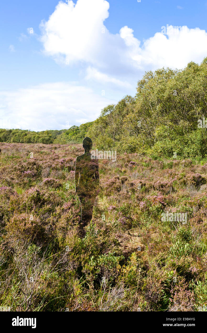 Life size reflective installation by Rob Mulholland at Taynish National Nature Reserve, Knapdale, Argyll & Bute, - Stock Image
