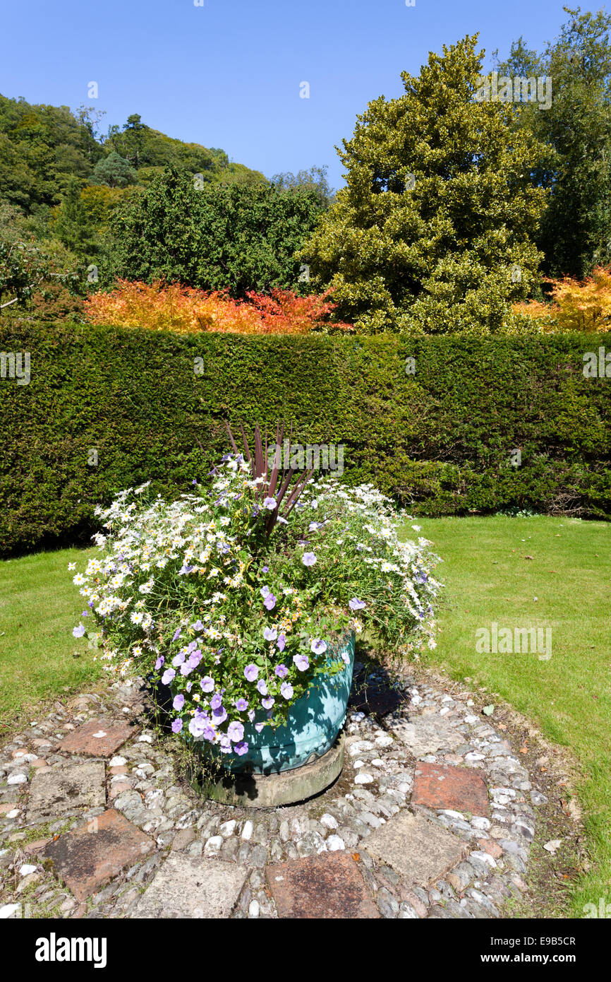 The beautiful walled gardens of Duntrune Castle on the edge of Loch Crinan, Argyll & Bute, Scotland UK - Stock Image