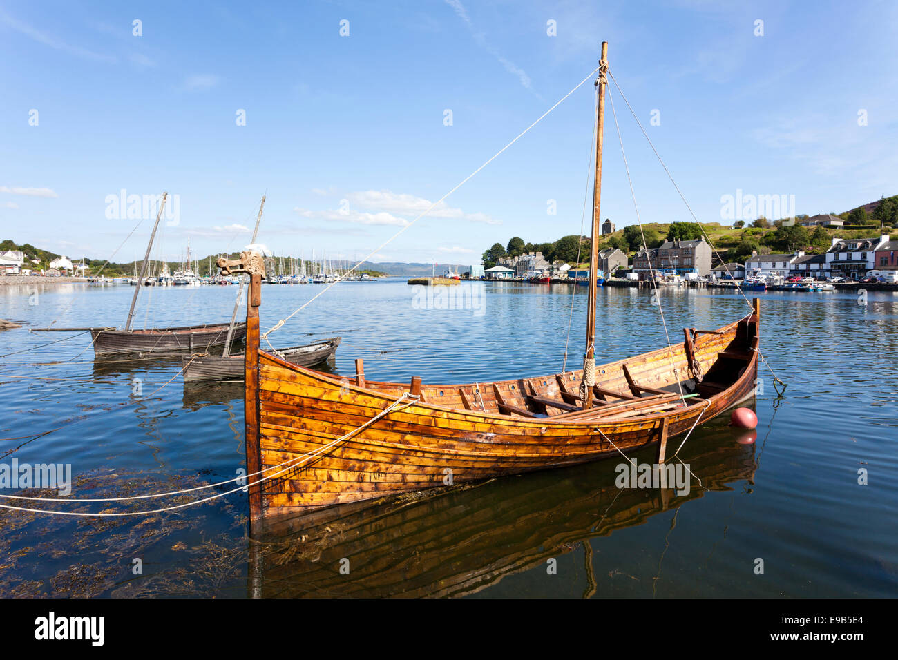 A Viking longboat, built locally for the first Loch Fyne Viking festival, Tarbert, Argyll & Bute, Scotland UK - Stock Image