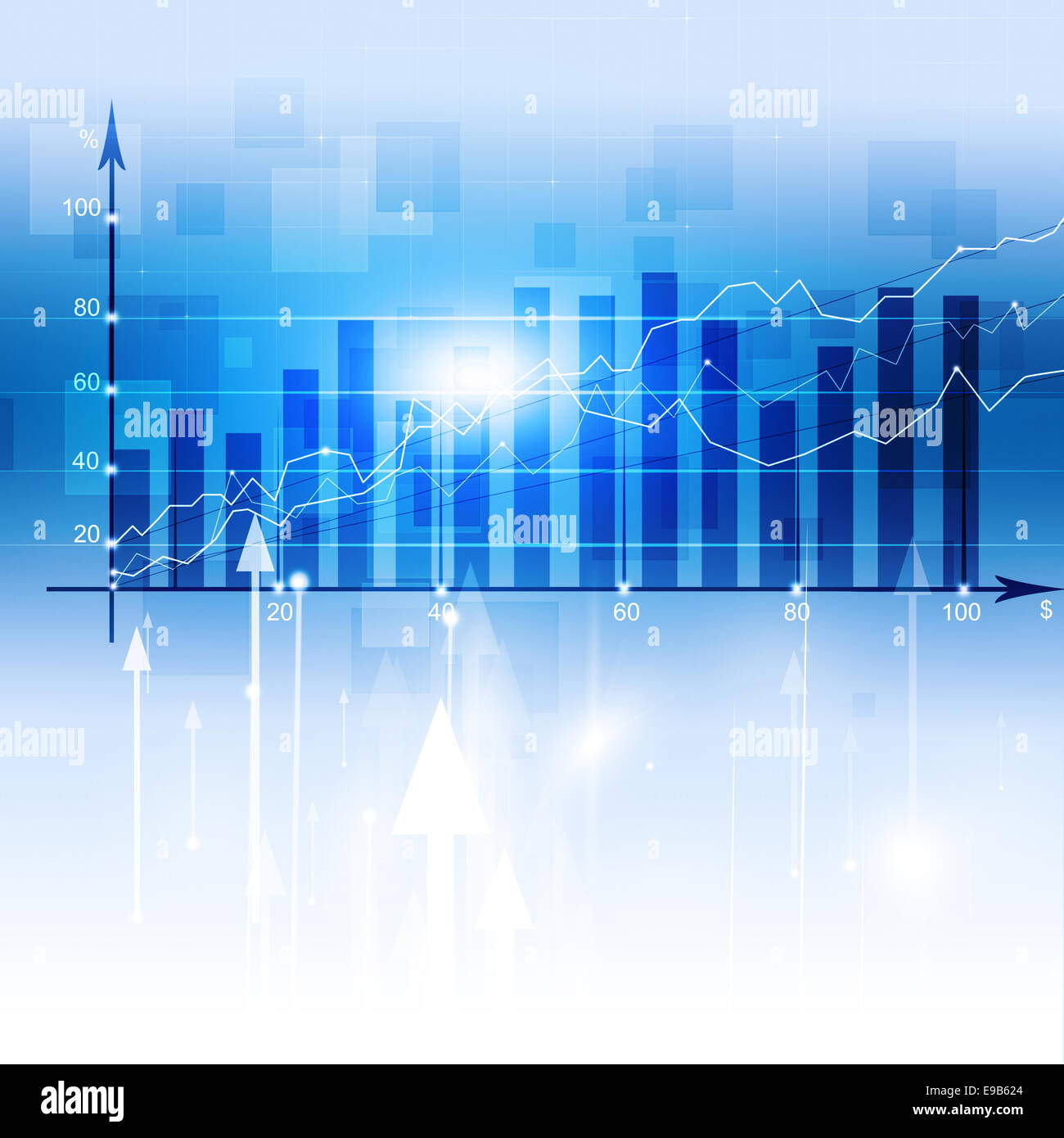 abstract business finance diagram on the blue background - Stock Image