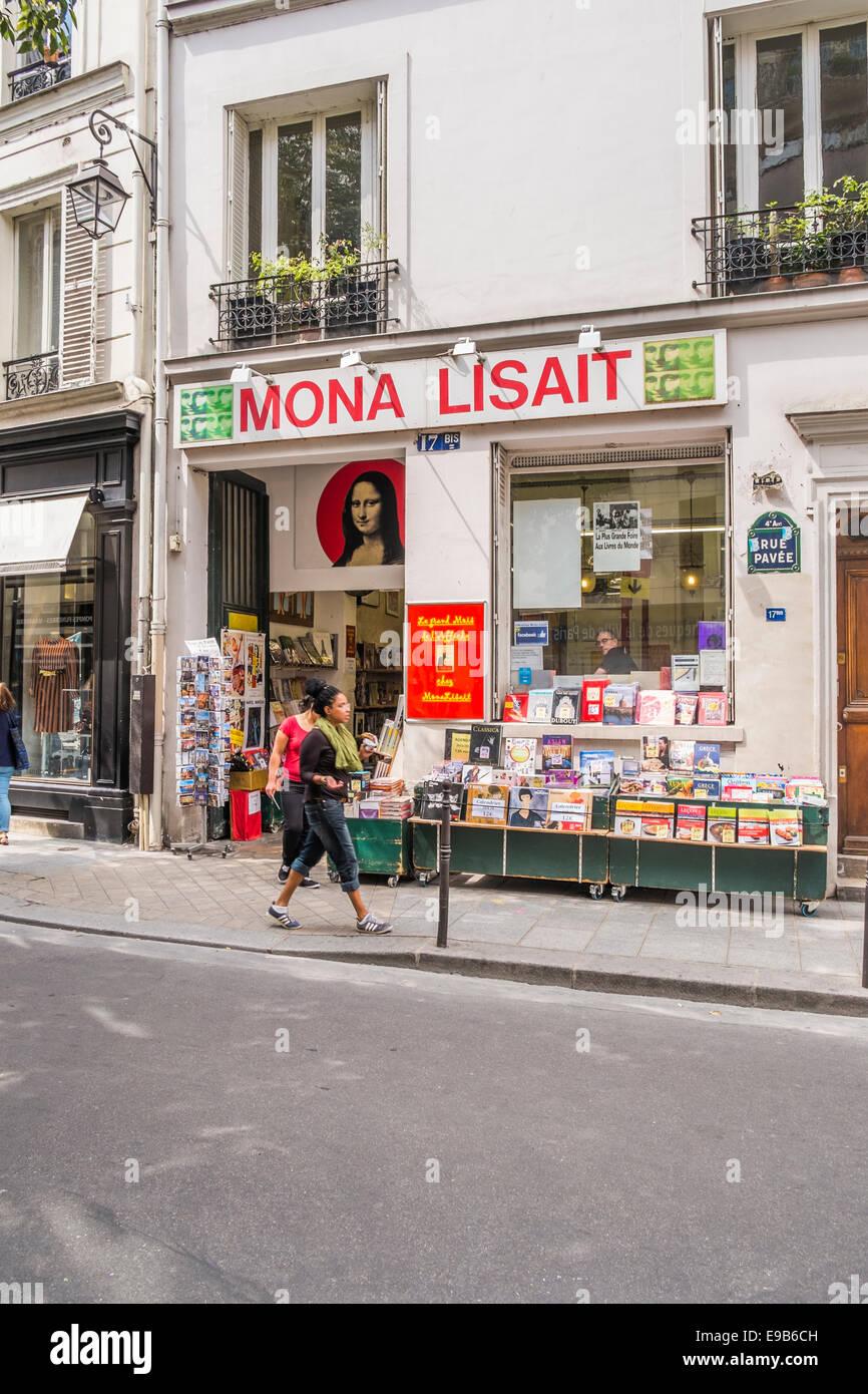 mona lisait bookshop, rue pavee, 4th arrondissemnet,  paris, ile de france, france - Stock Image