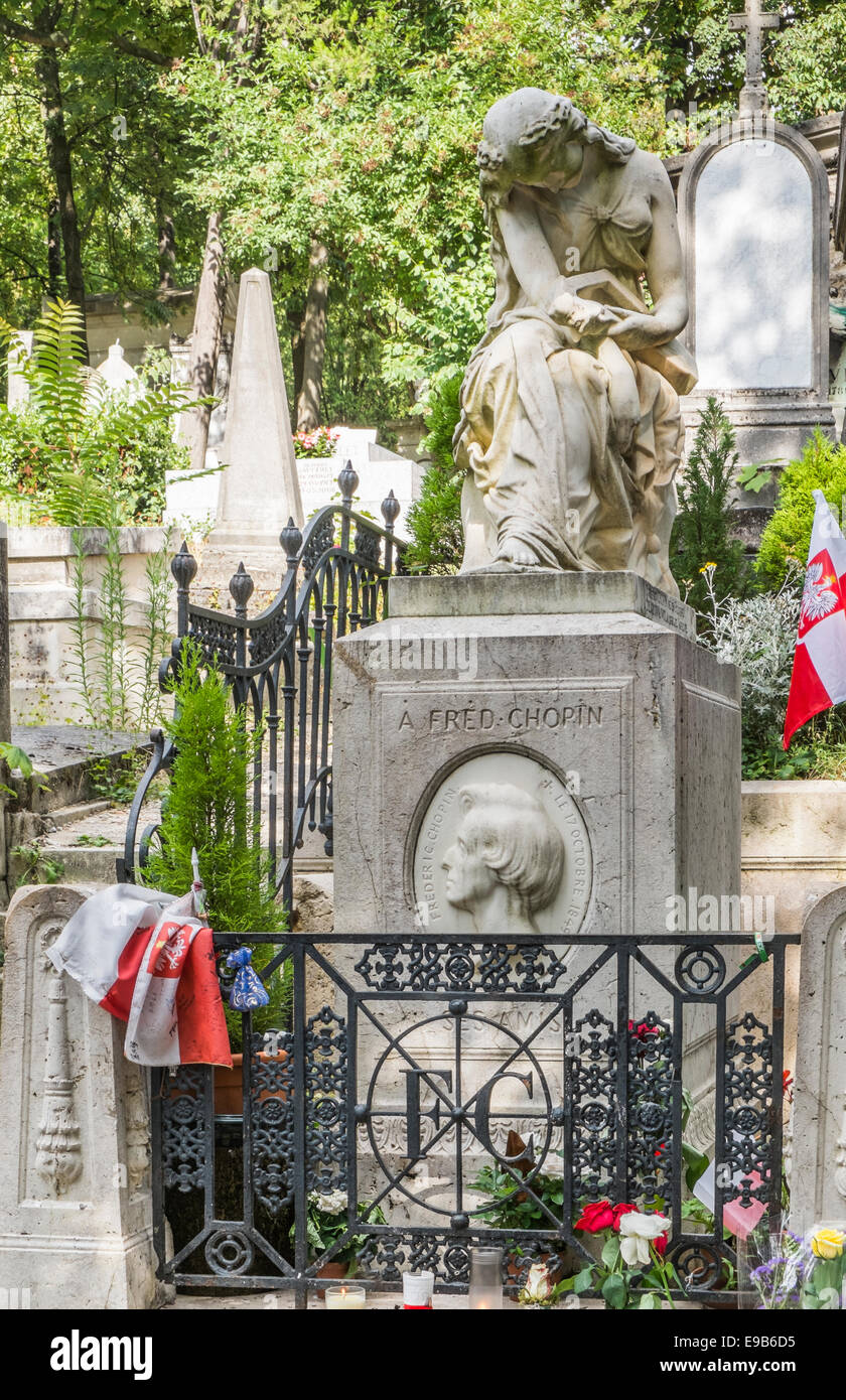 graveside of composer frederic chopin, pere lachaise cemetery, paris, ile de france, france - Stock Image
