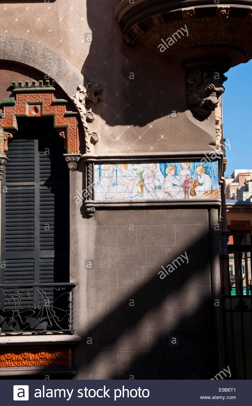Barcelona, Villa Goma modernist style architecture, Spain - Stock Image