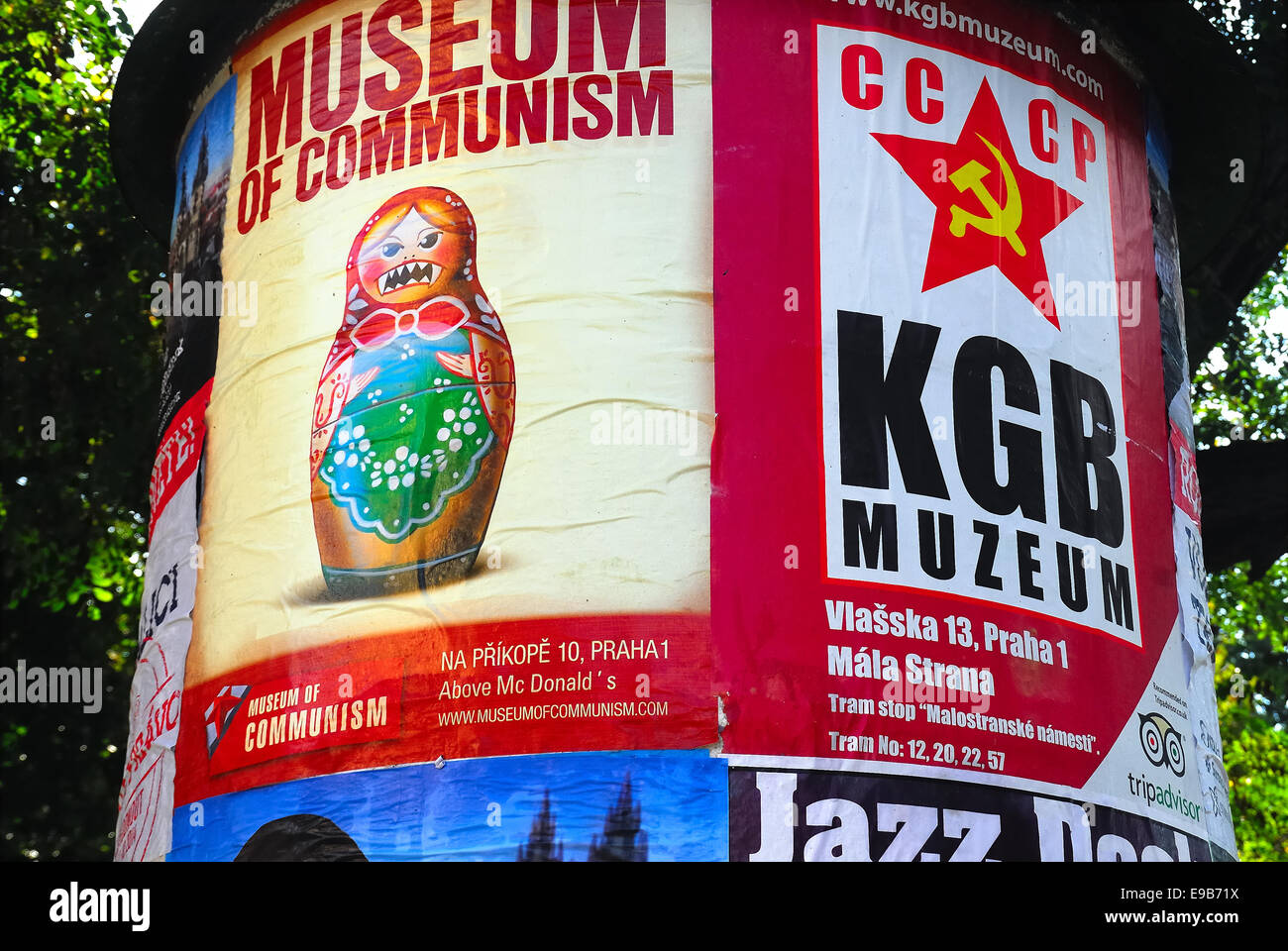 Prague remembers Communist period and  the Soviet invasion. Advertising posters of the Communism and KGB museum. - Stock Image