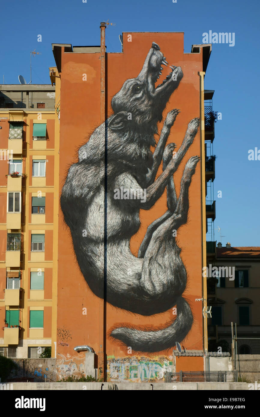 Rome. Italy. 'Jumping Wolf' by Belgian graffiti artist Roa on the side of a building in Testaccio. Stock Photo