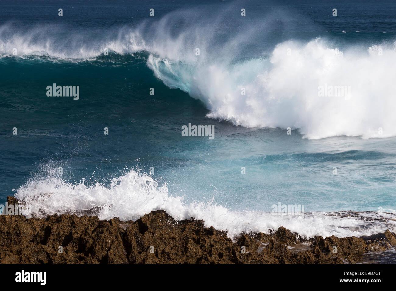 Breaking wave, [Nusa Lembongan], Bali, Indonesia - Stock Image