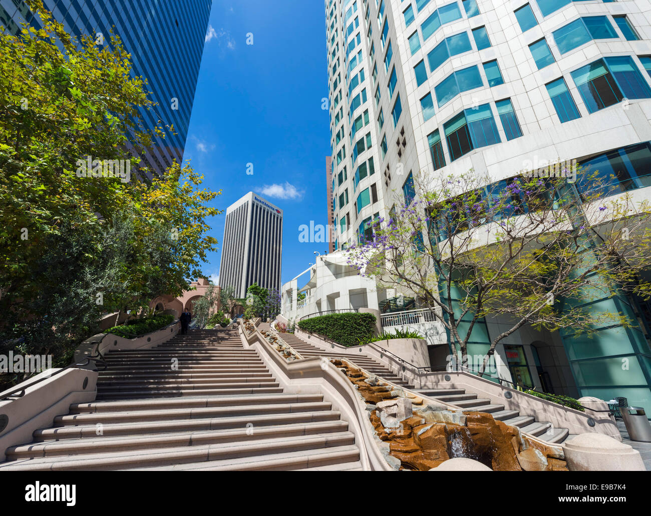 Bunker Hill Steps, Bank of America and US Bank Tower entrance in downtown Los Angeles, California, USA - Stock Image