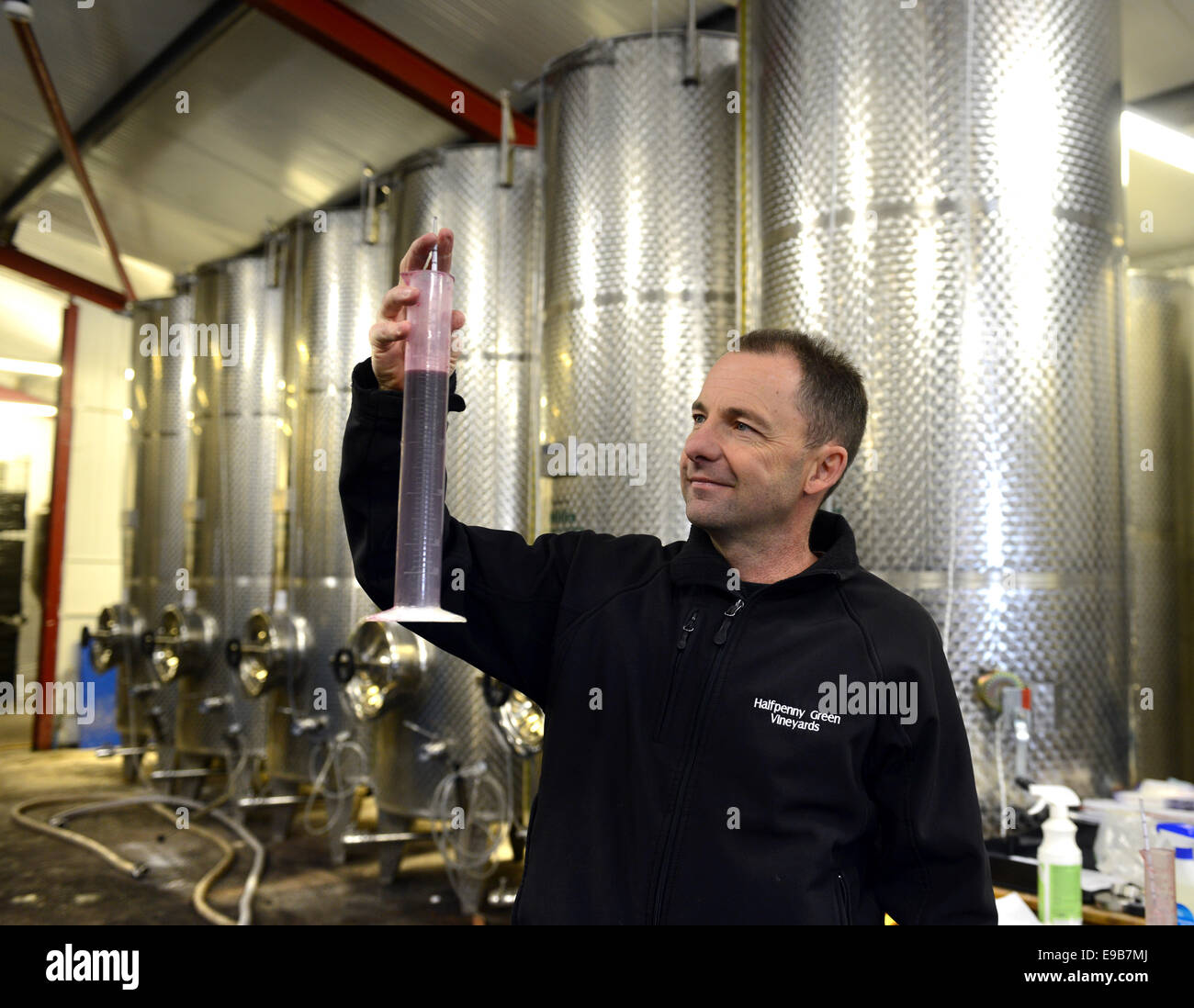 Clive Vickers director at Halfpenny Green Vineyards testing wine gravity with hydrometer in Staffordshire England - Stock Image