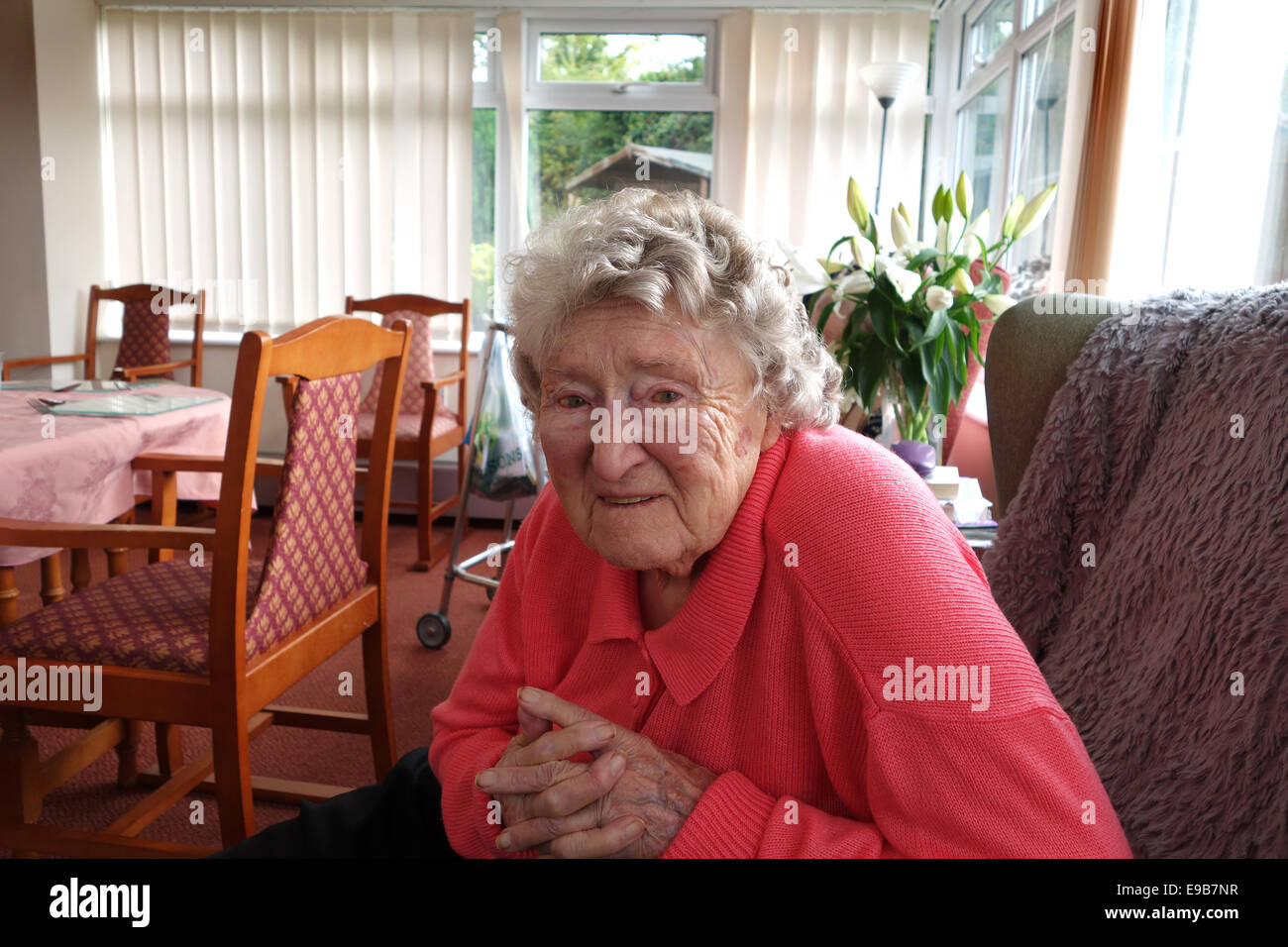 Elderly woman 99 years old in care home Uk - Stock Image