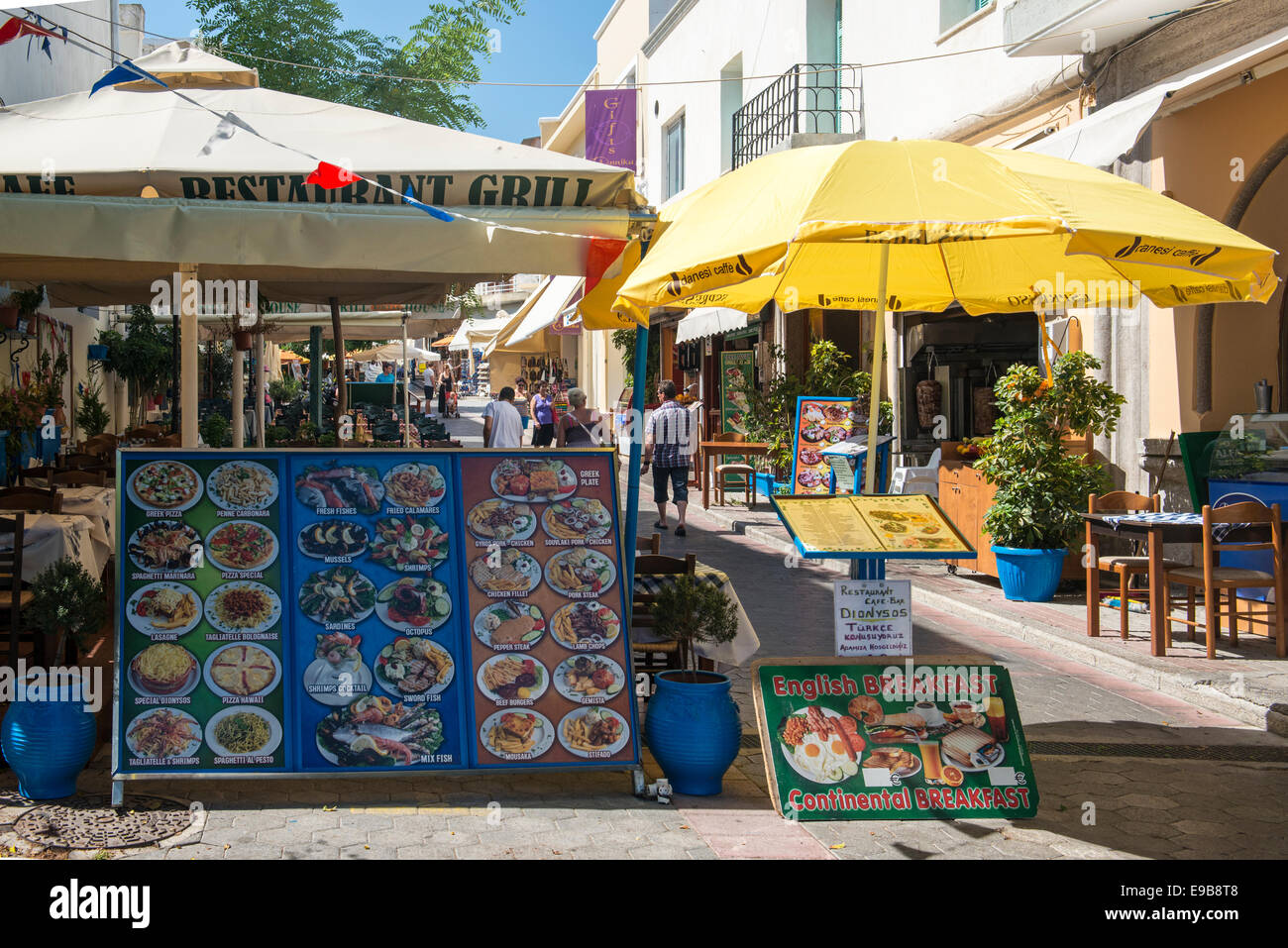 Board menu of a restaurant in the town of Kos, island of Kos, Greece - Stock Image