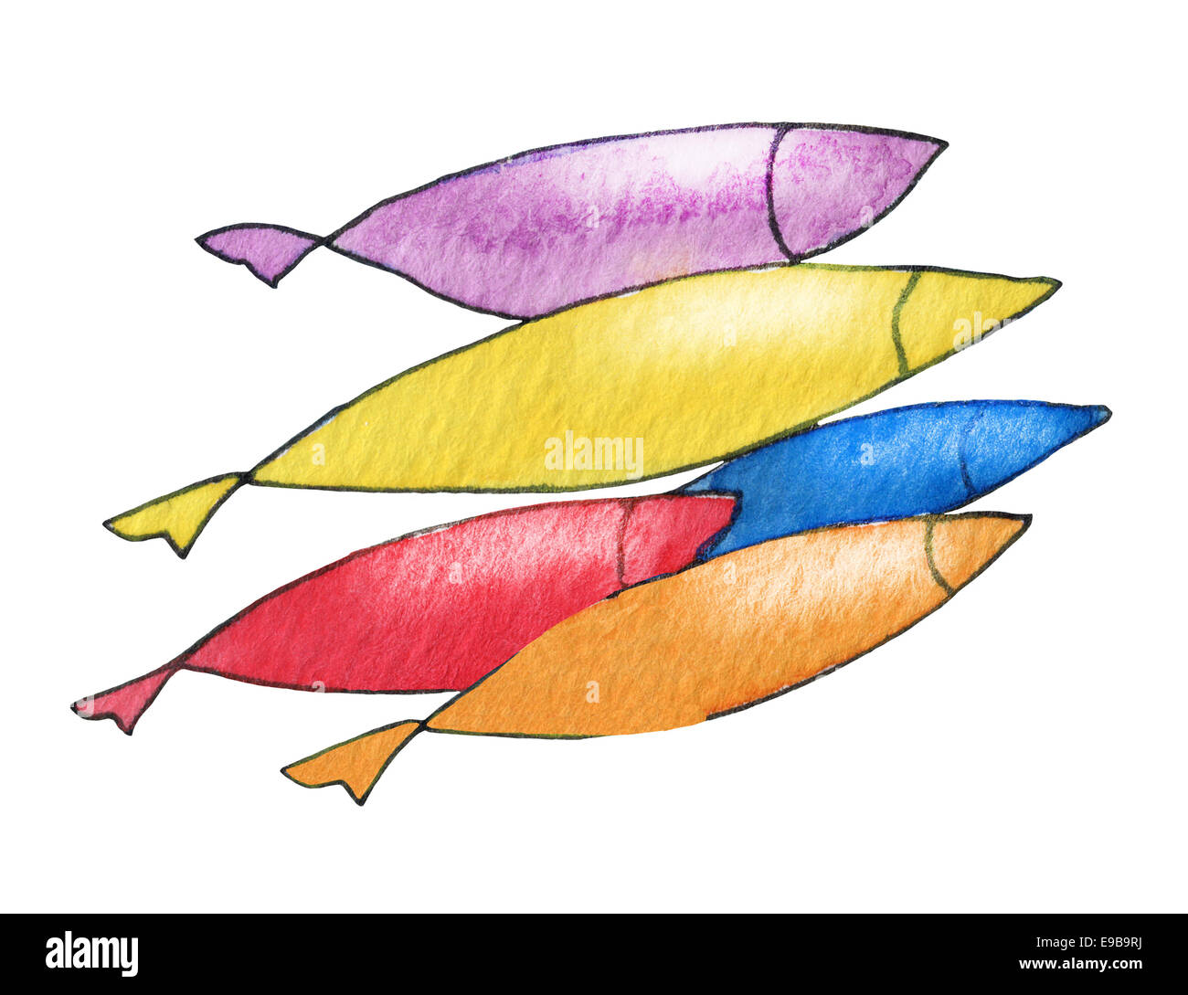 Fish on white. Abstract original watercolor background texture. Stock Photo