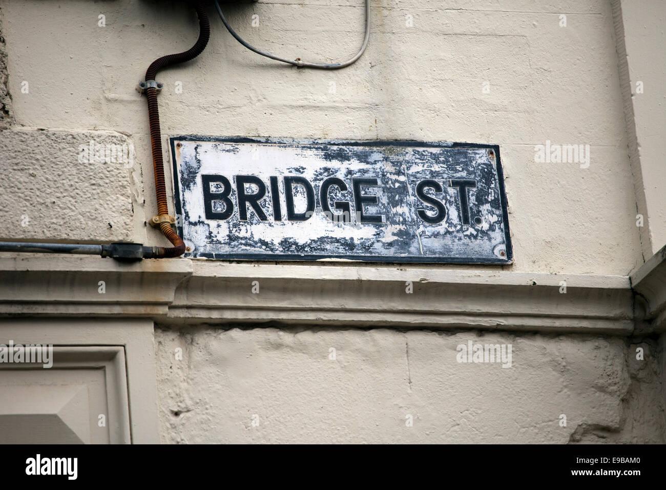 Bridge Street Sign where an IRA terrorist bomb killed Jonathan Ball and Tim Parry, Warrington, Cheshire, UK - Stock Image