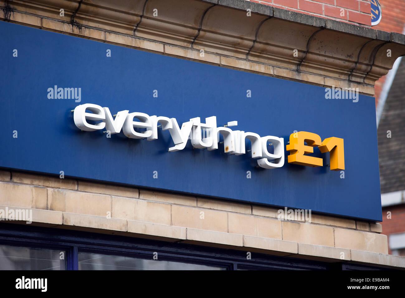 Everything £1 store Warrington Town centre, Cheshire, UK - Stock Image