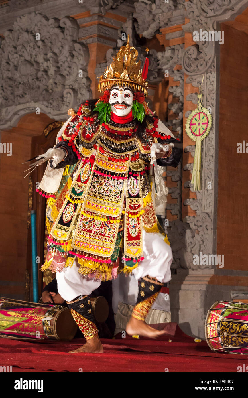 [Jauk Dance], traditional Balinese dance of a masked demon, [Ubud Palace], Bali, Indonesia - Stock Image