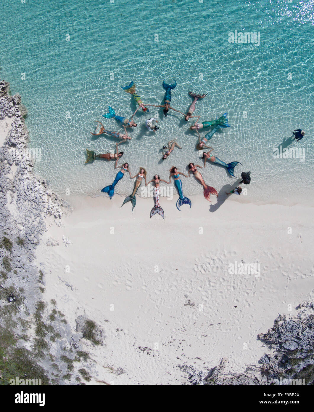 Mermaids posing for drone in the Bahamas Islands - Stock Image