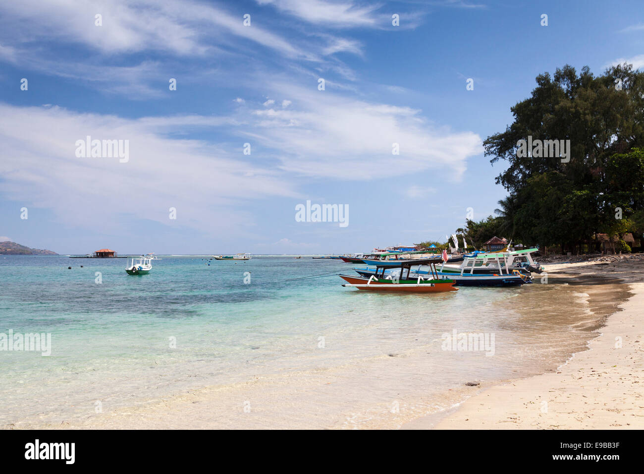 'Gili Air' beach and tropical sea, 'Gili Islands', Lombok, Indonesia - Stock Image