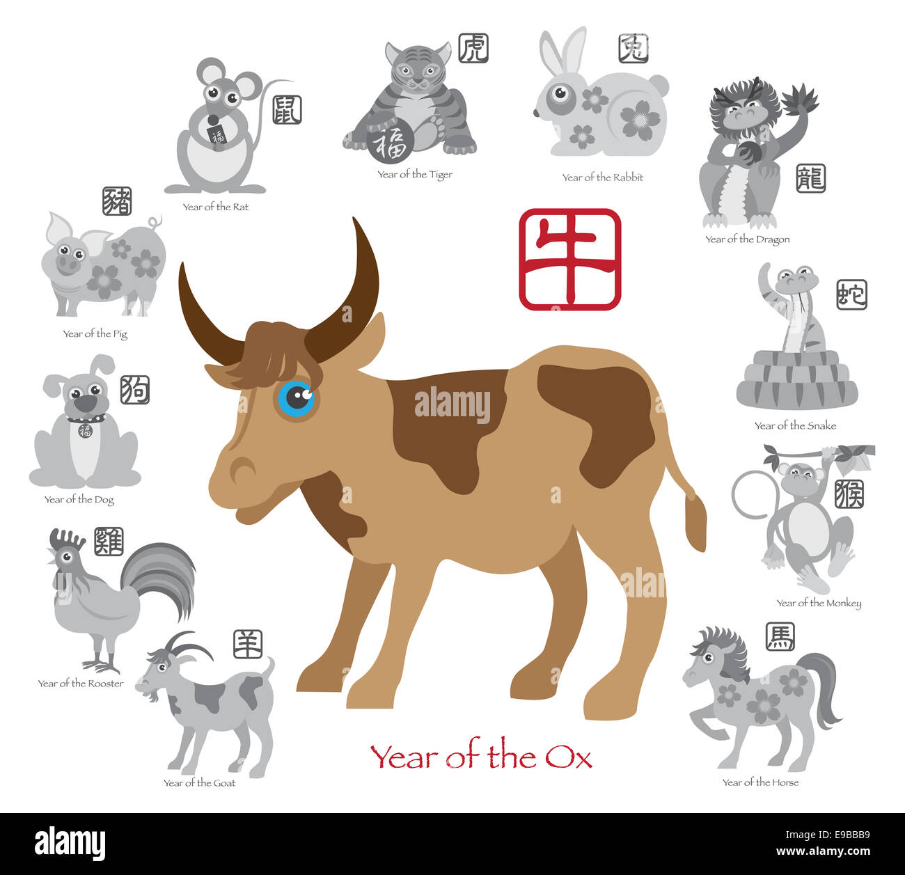 Chinese New Year Of The Ox Color With Twelve Zodiacs With Chinese