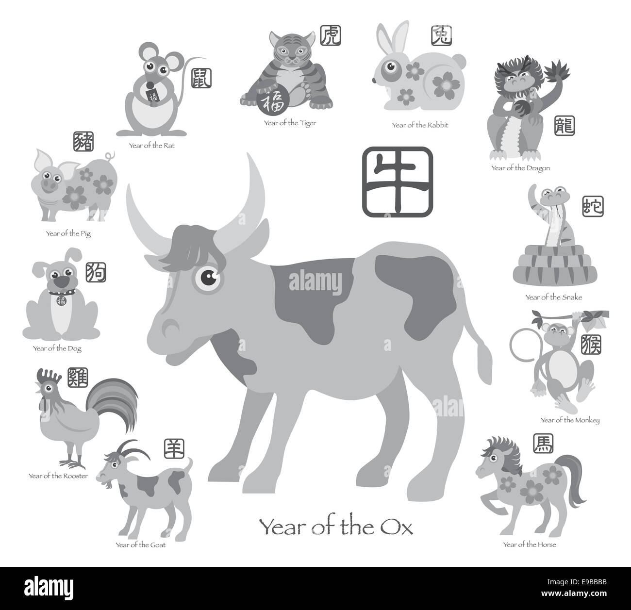 Chinese New Year Of The Ox With Twelve Zodiacs With Chinese Symbol