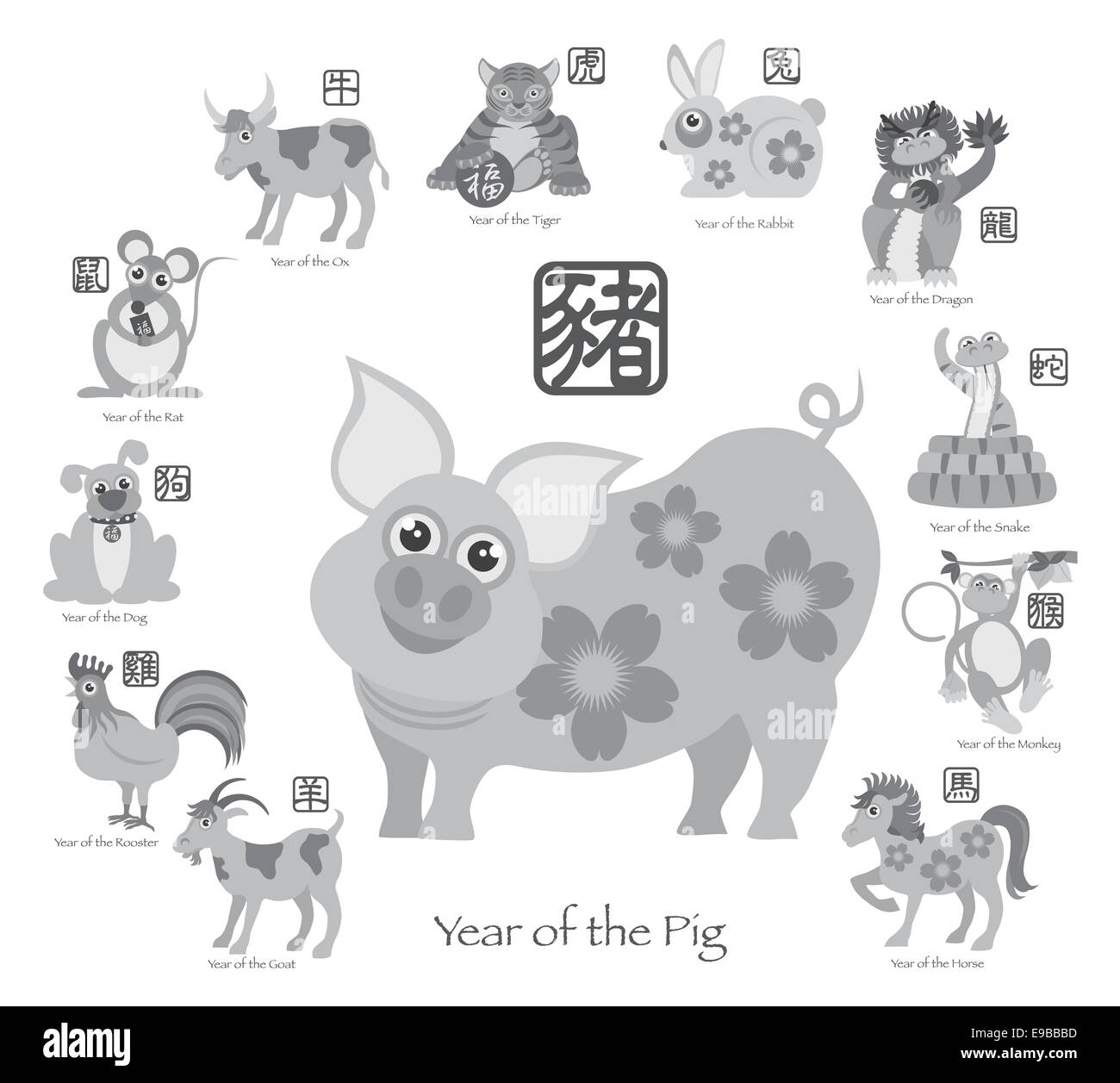 Chinese New Year Of The Pig With Twelve Zodiacs With Chinese Symbol