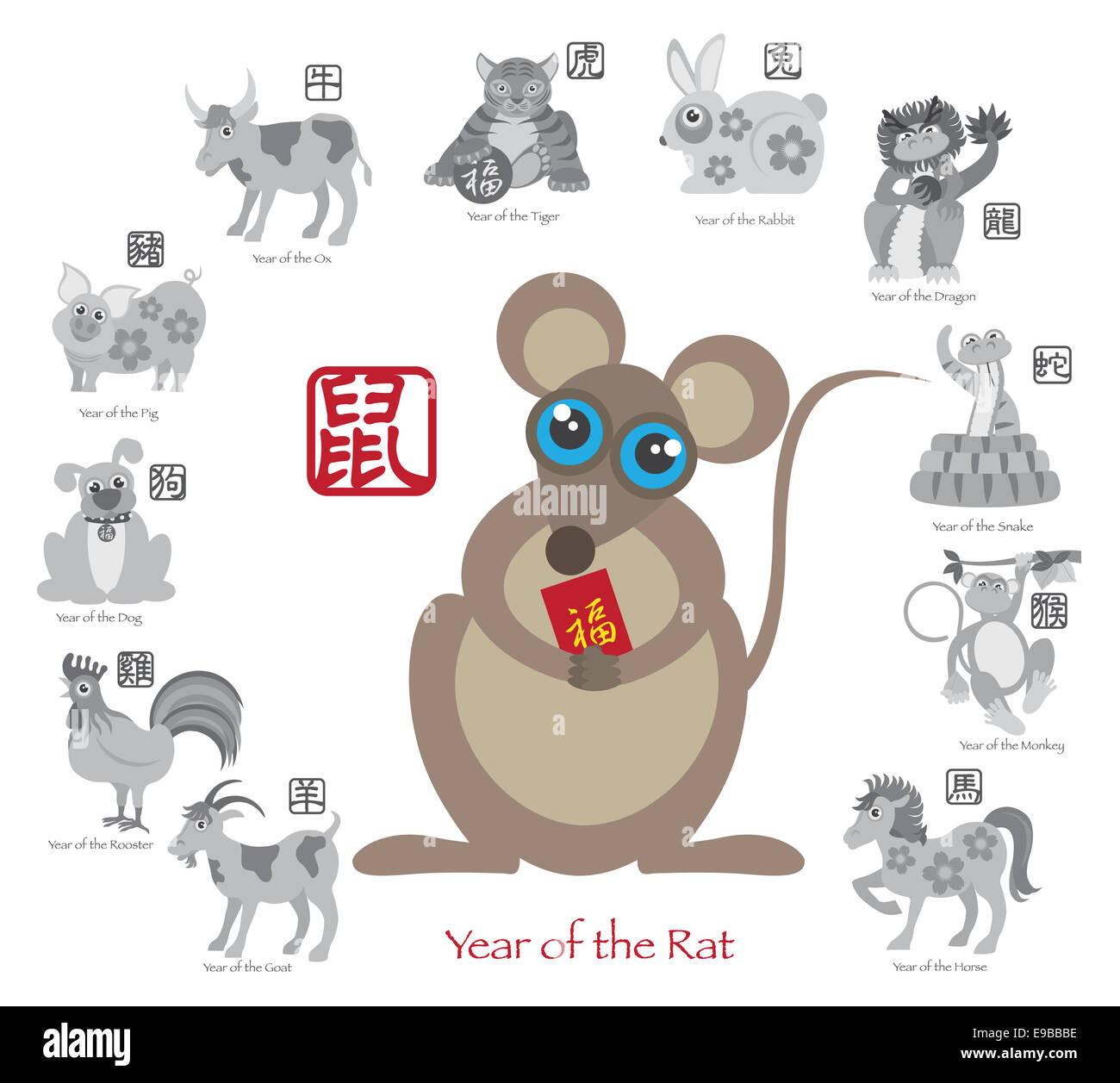 Chinese New Year Of The Rat Color With Twelve Zodiacs With Chinese