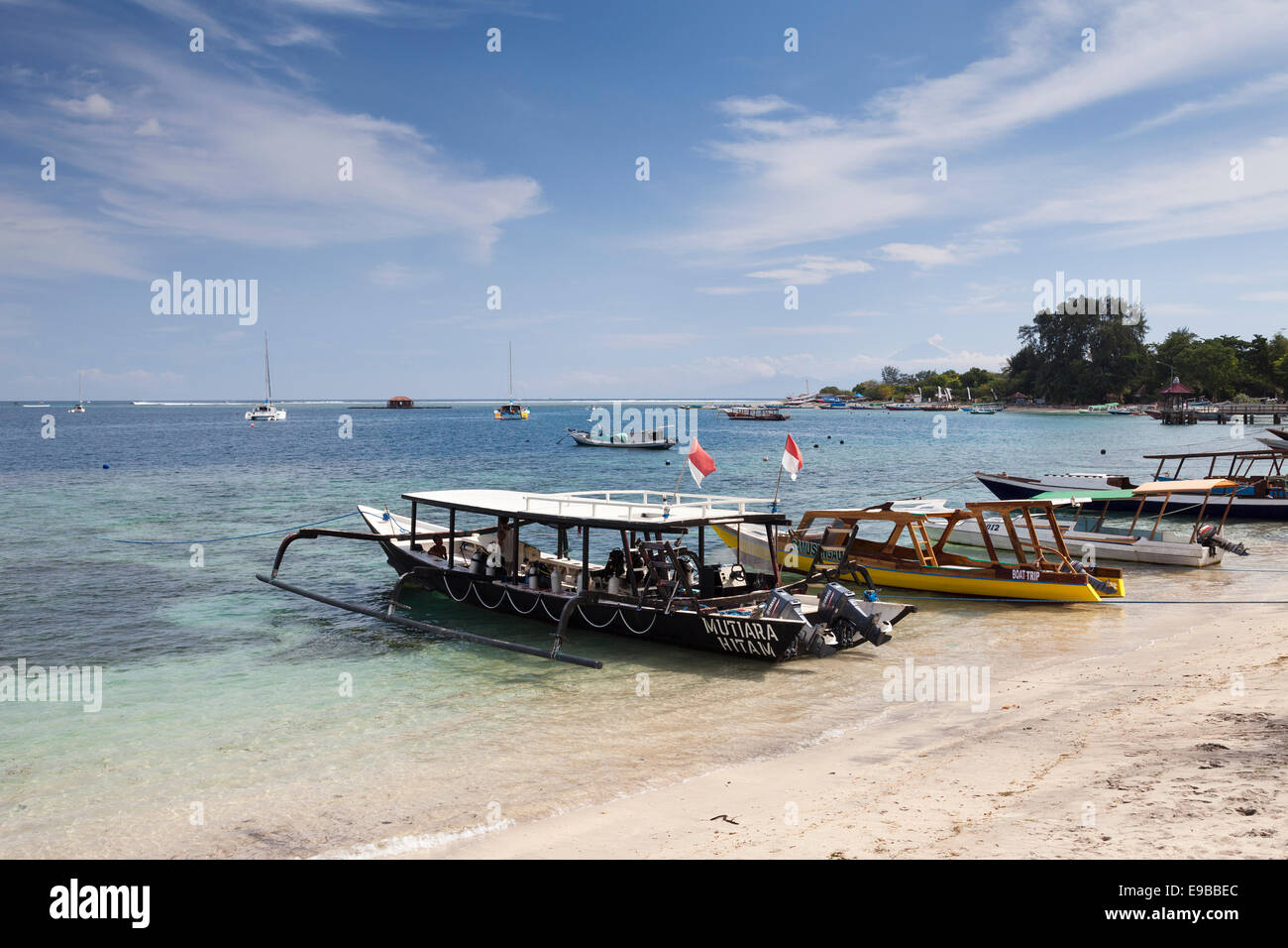Boats moored on beach, 'Gili Air', 'Gili Islands', Lombok, Indonesia - Stock Image