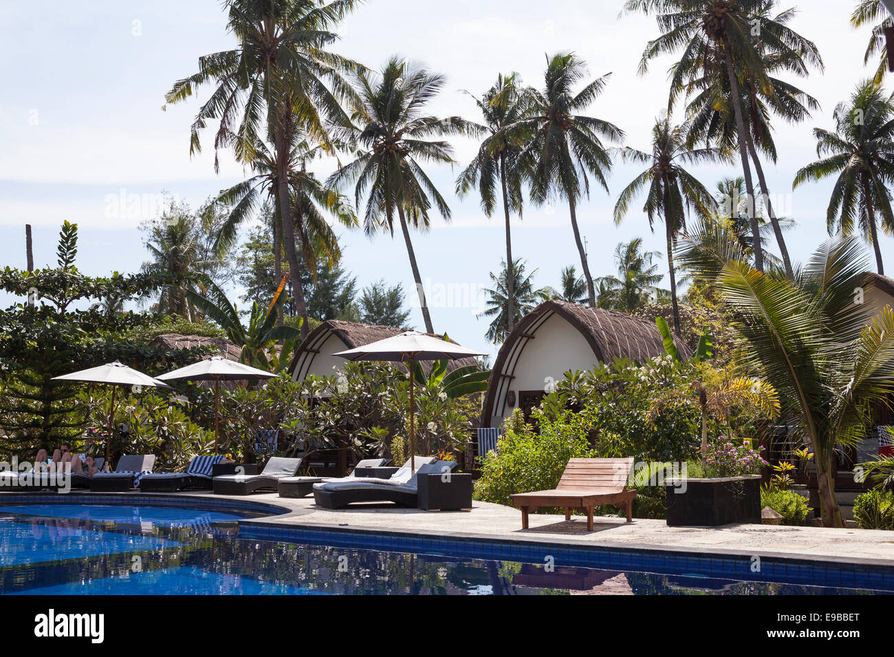 Hotel pool, 'Gili Air', 'Gili Islands', Lombok, Indonesia - Stock Image