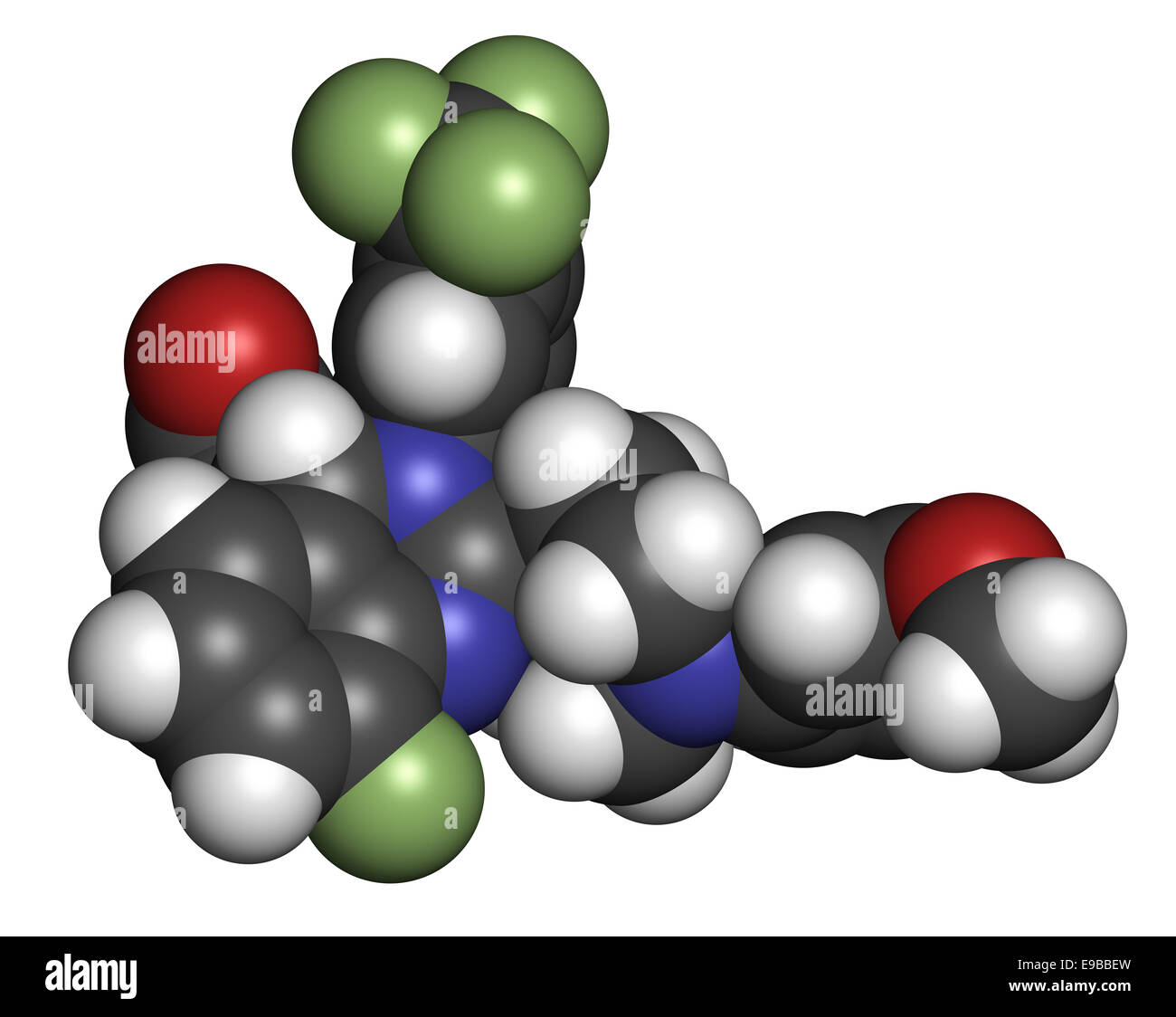 letermovir cytomegalovirus (CMV) drug molecule. Atoms are represented as spheres with conventional color coding: - Stock Image