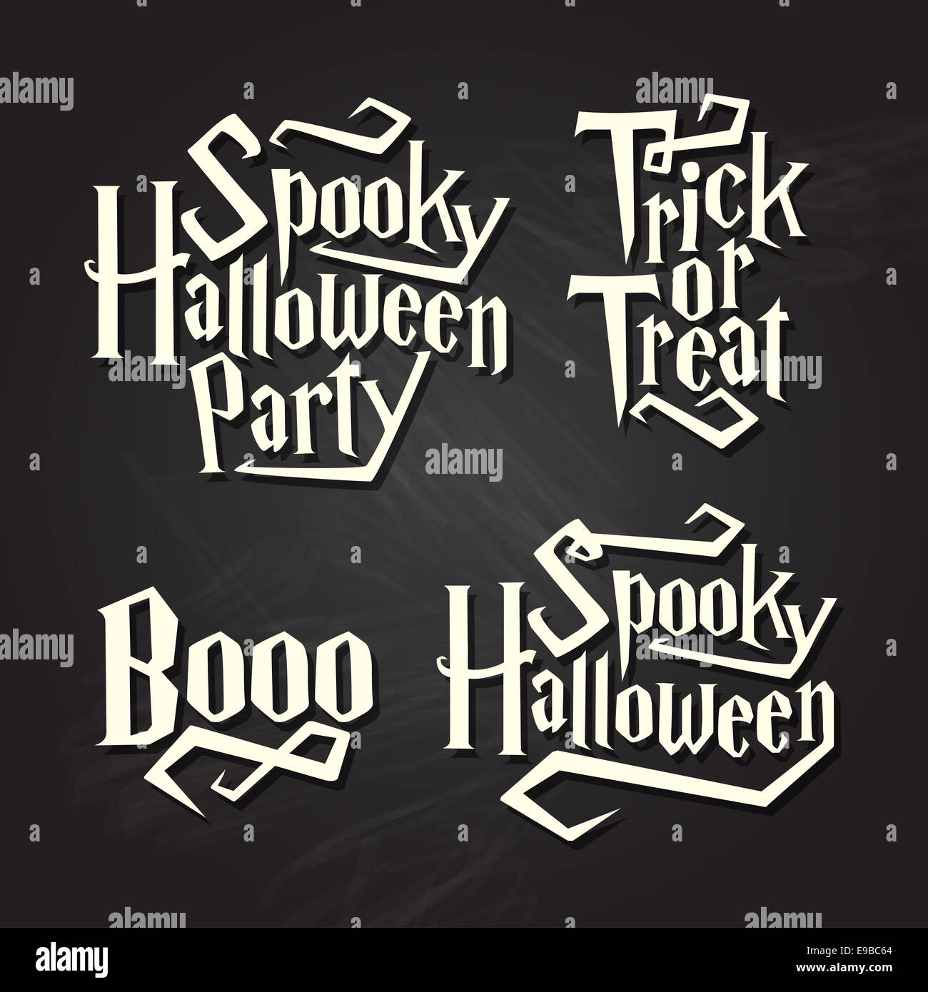 spooky halloween quotes on black chalkboard background stock photo