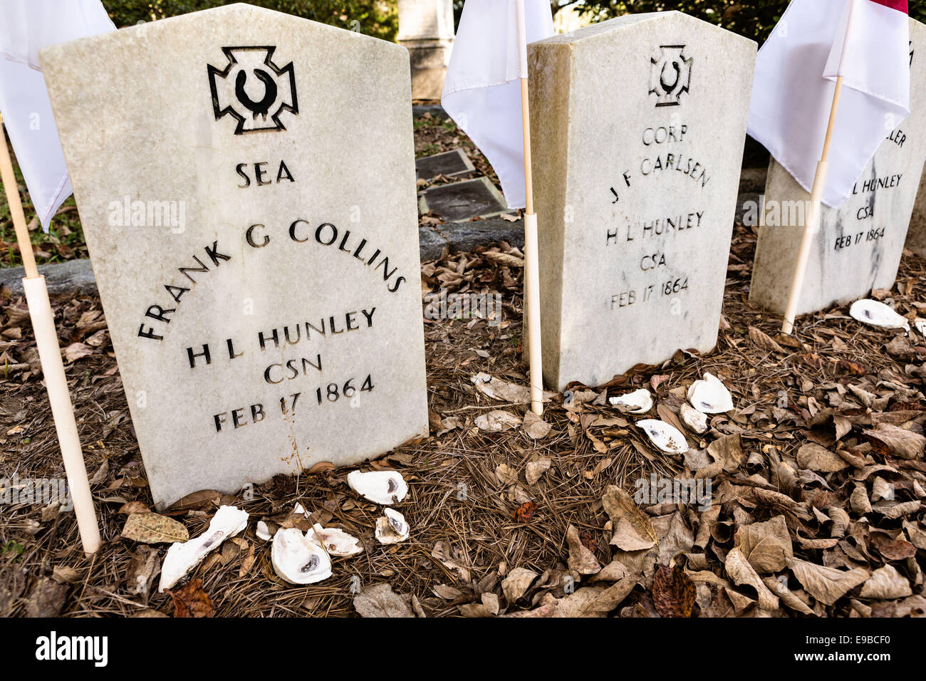 Grave site of the civil war era submarine HL Hunley sailors in historic Magnolia Cemetery in Charleston, South Carolina. - Stock Image