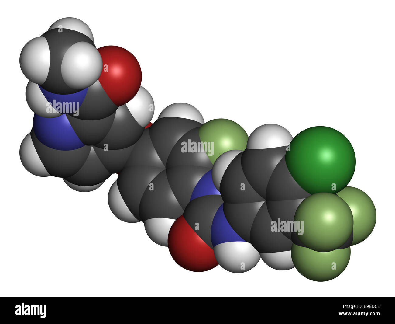 Regorafenib cancer drug molecule. Atoms are represented as spheres with conventional color coding: hydrogen (white), - Stock Image