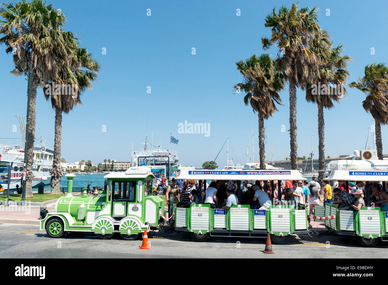 Road train in the town of Kos, island of Kos, Greece - Stock Image
