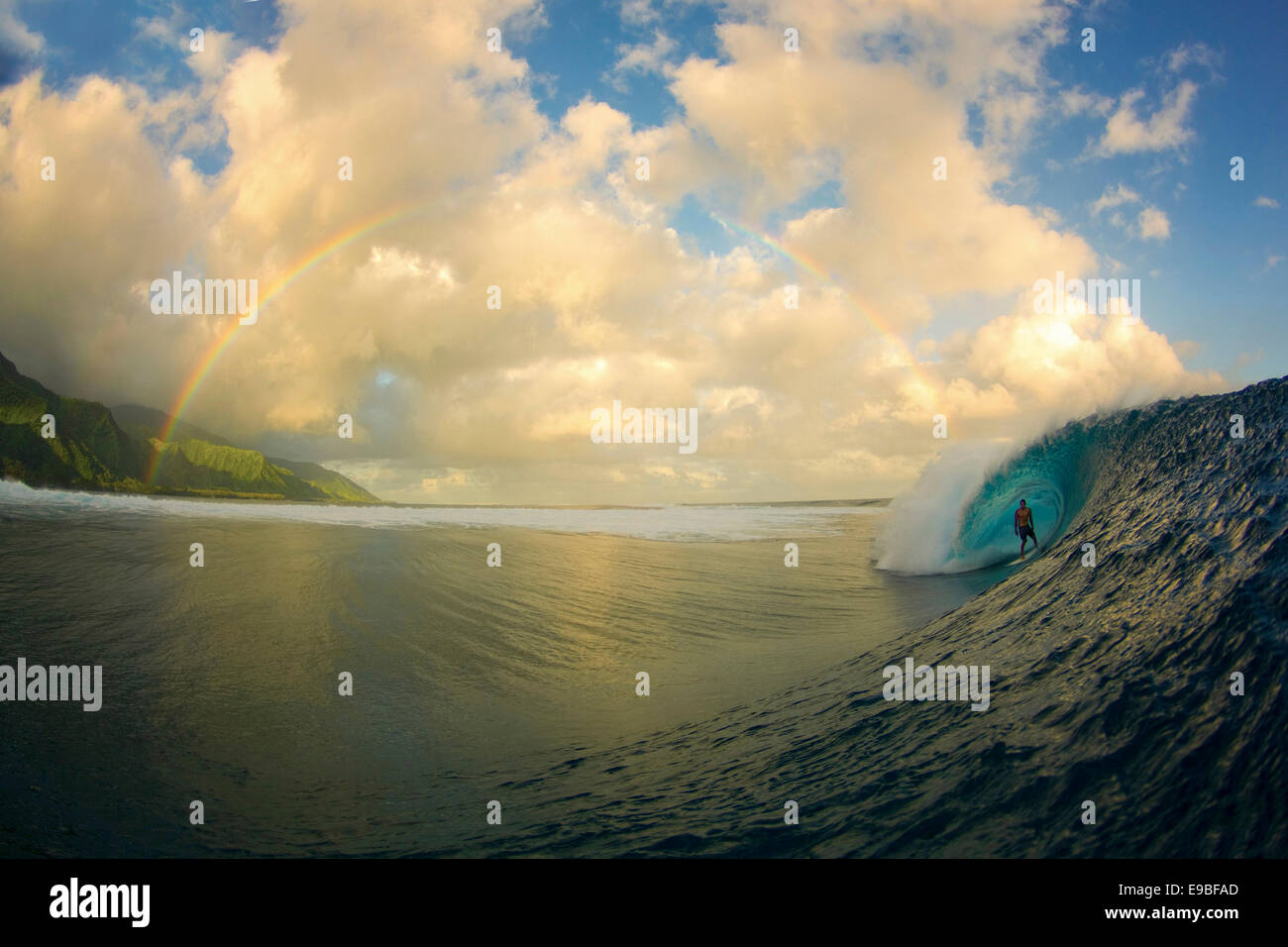 Teahupoo, Tahiti. 14th July, 2011. Surfer CHRISTIAN REDONGO surfing in a barrel at Teahupoo, one of the world's - Stock Image