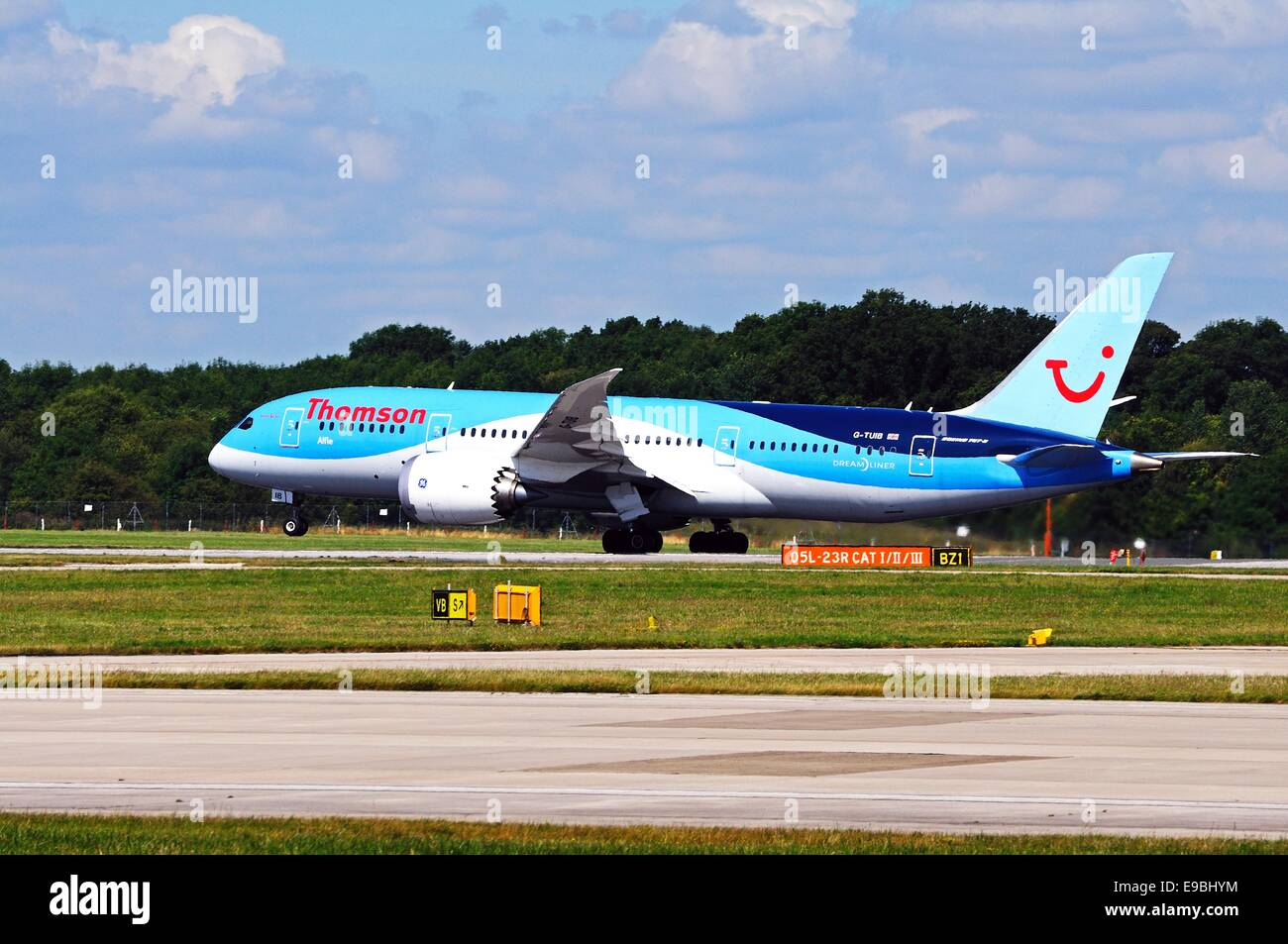 Thomson Airways Boeing 787-8 Dreamliner taxiing at Manchester airport, Manchester, Greater Manchester, England,Stock Photo