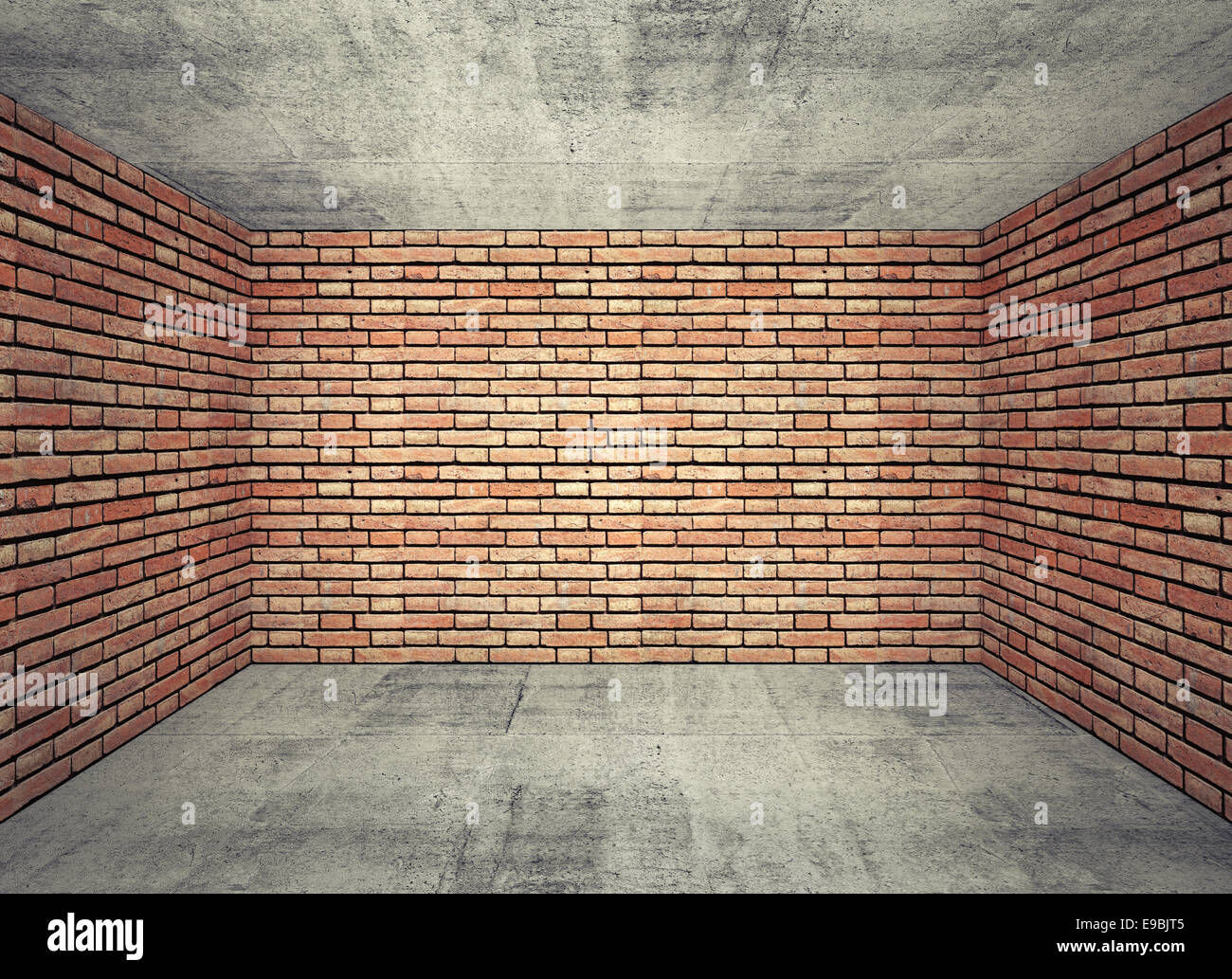 brick walls. Empty Room Interior With Red Brick Walls And Gray Concrete Floor. 3d Background Perspective Effect