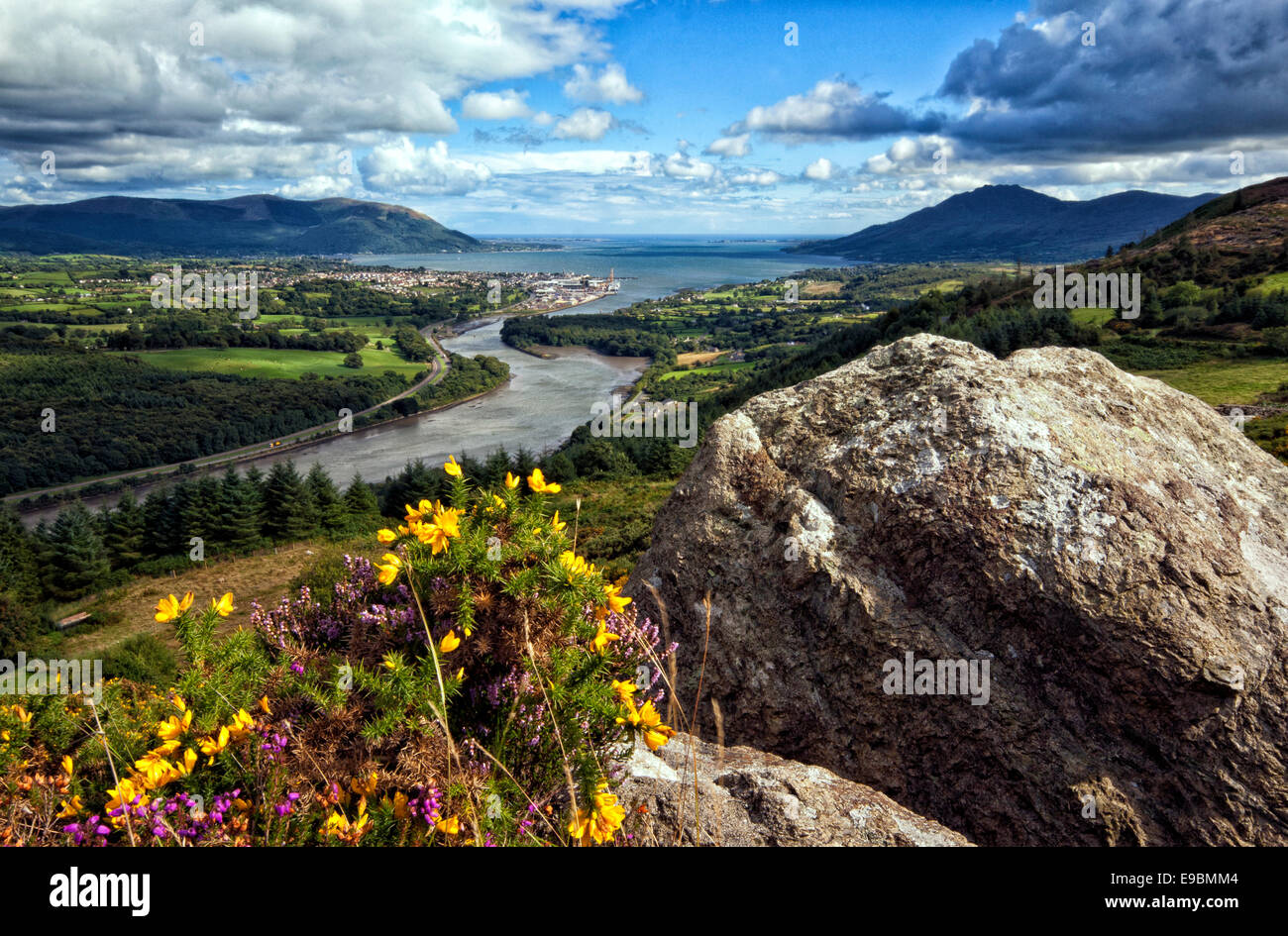 View from Flagstaff Viewpoint in Newry looking over Carlingford Lough towards Omeath and Warrenpoint. - Stock Image