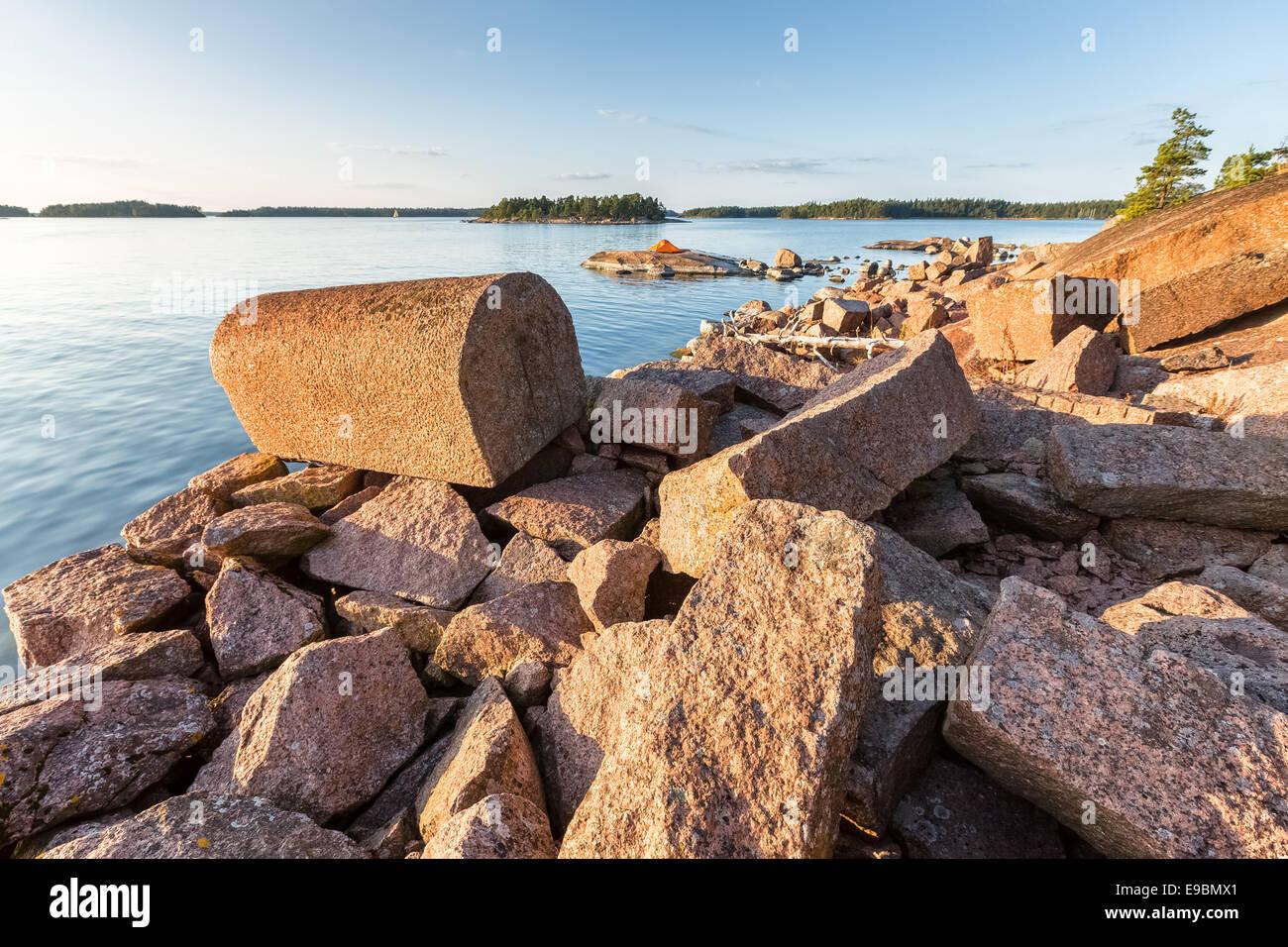 So called Napoleon's stone at Onaslandet island, Porvoo, Finland, Europe, EU - Stock Image