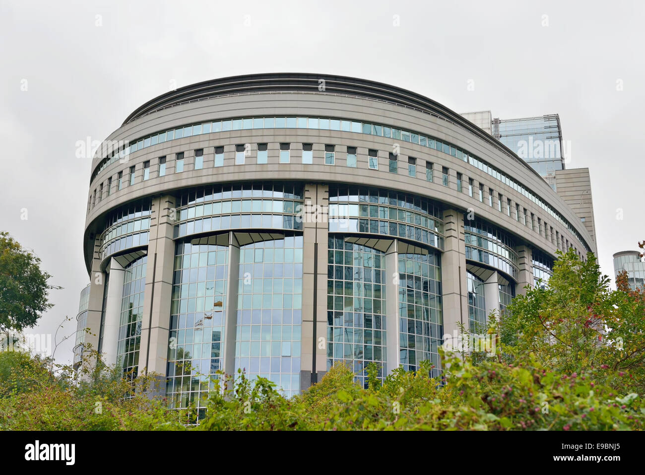 BRUSSELS, BELGIUM-OCTOBER 23, 2014: Modern building of the European Parliament in Brussels - Stock Image