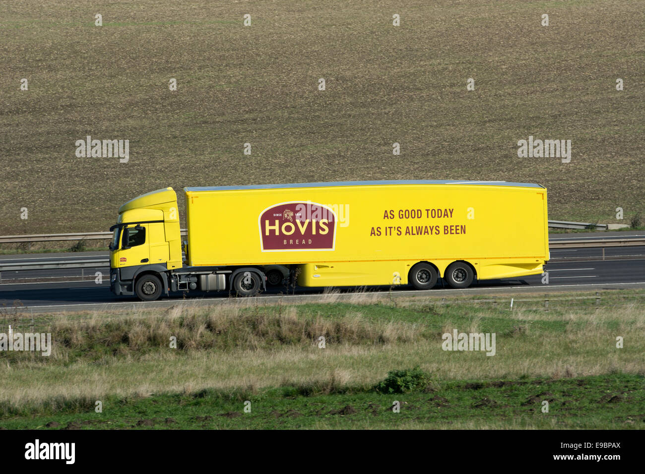 Hovis bread lorry on M40 motorway, Warwickshire, UK - Stock Image