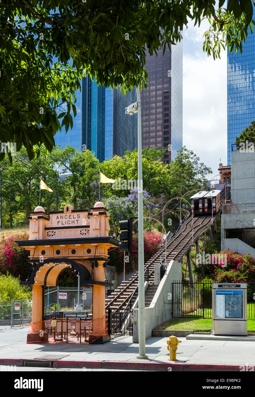 Angels Flight, Los Angels. Angel's Flight funicular between Hill St and California Plaza, Los Angeles, California, - Stock Image