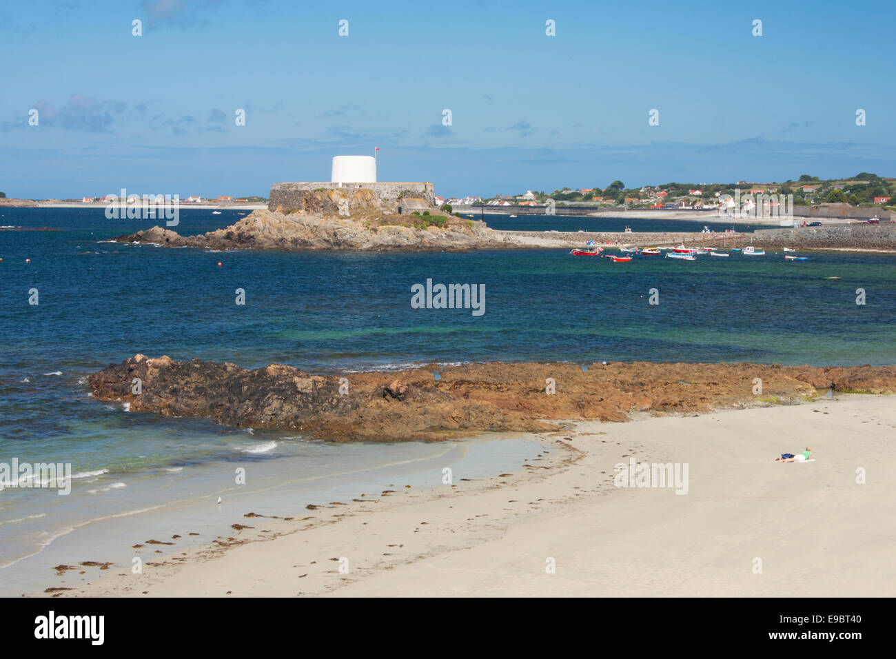 PORTELET HARBOUR AND FORTGREY MARITIME MUSEUM - Stock Image